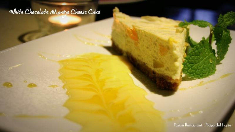 Fusion Playa del Inglés. White Chocolate Mango Cheesecake