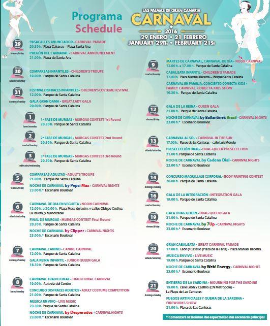 Las Palmas Carnival 2016 Schedule