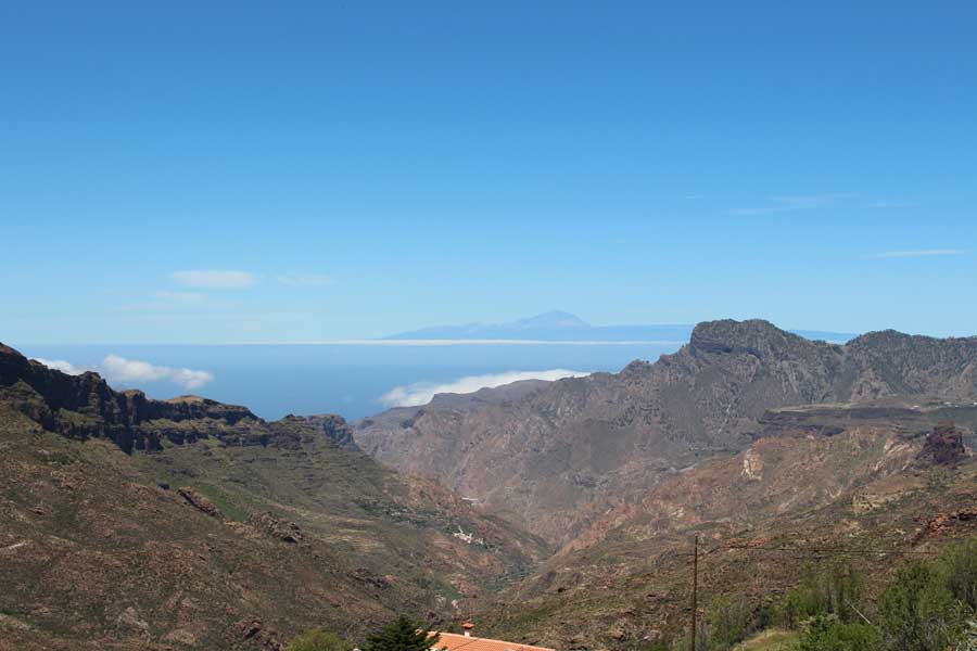 Tenerife with Teide, the highest mountain in Spain, visible from Gran Canaria
