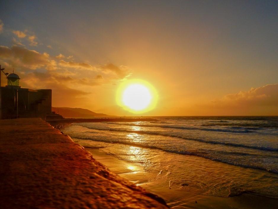 Sunset Las Canteras Beach Las Palmas de Gran Canaria.