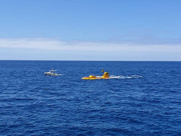 Gran Canaria Submarine emerging in Puerto de Mogán